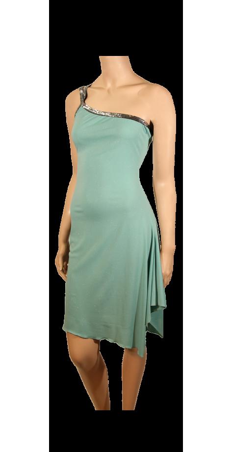 Robe asymétrique vert d'eau pailleté