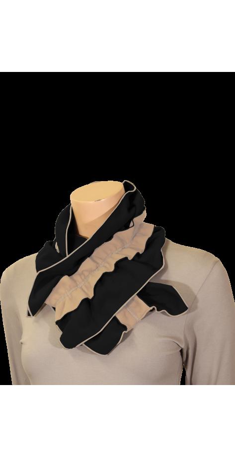 Écharpe polaire froncée bicolore