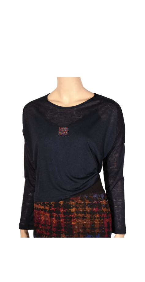 T-shirt laine bleu marine à strass