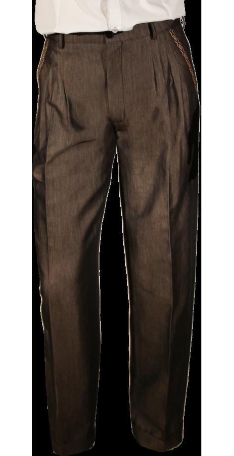 Feria jean's laqué marron galon écru