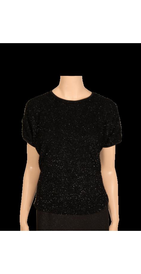 T-shirt noir lamé