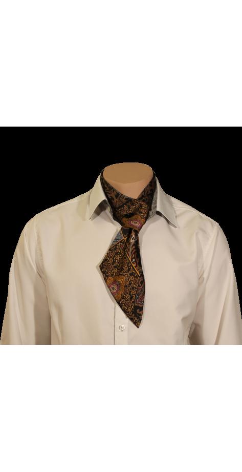 Cravate imprimée gris et safran