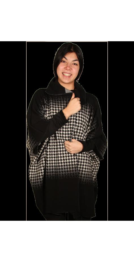 Veste cape noire et blanche