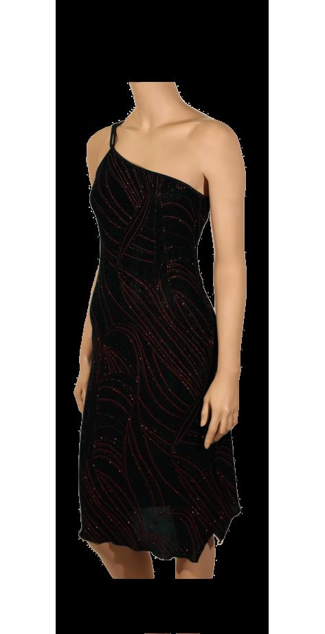 Robe asymétrique pailleté rouge