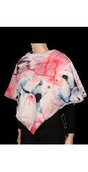 Poncho rose - doublure aquarelle